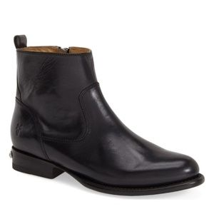 New Frye Danielle Short Black Leather Ankle Boots